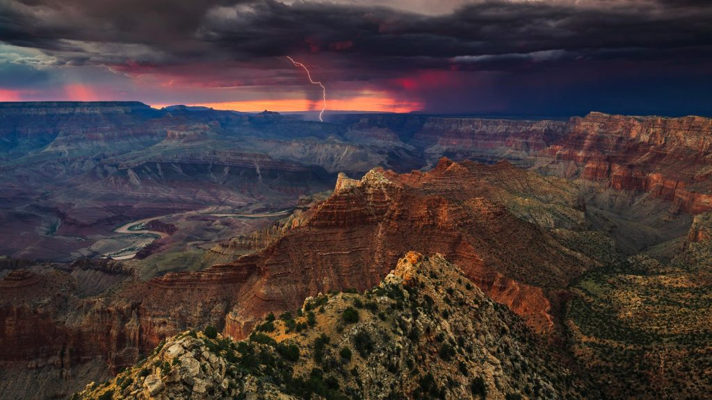 Lightning strikes near the Colorado River in Grand Canyon National Park, USA