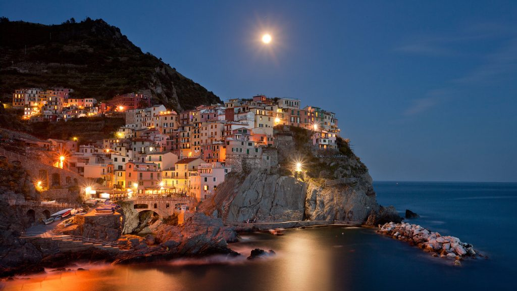 Manarola village night view from the Cinque Terre on the Italian Riviera