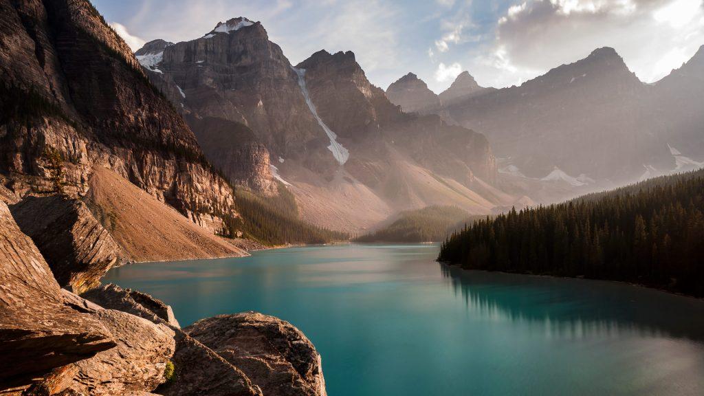 Moraine Lake in Banff at sunset, Alberta, Canada