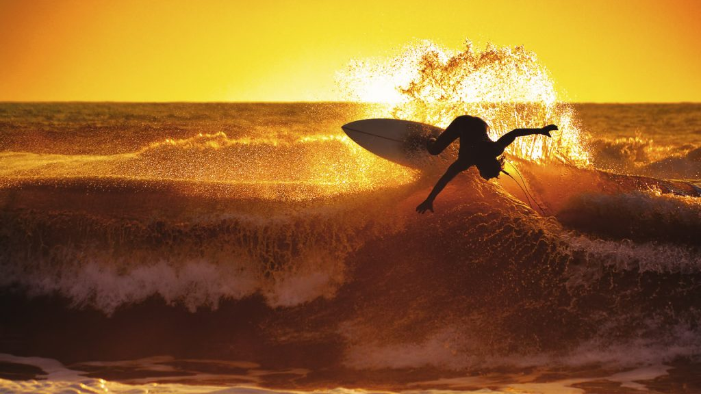 Epic sunset surfing, Cinquale, Massa, Tuscany, Italy