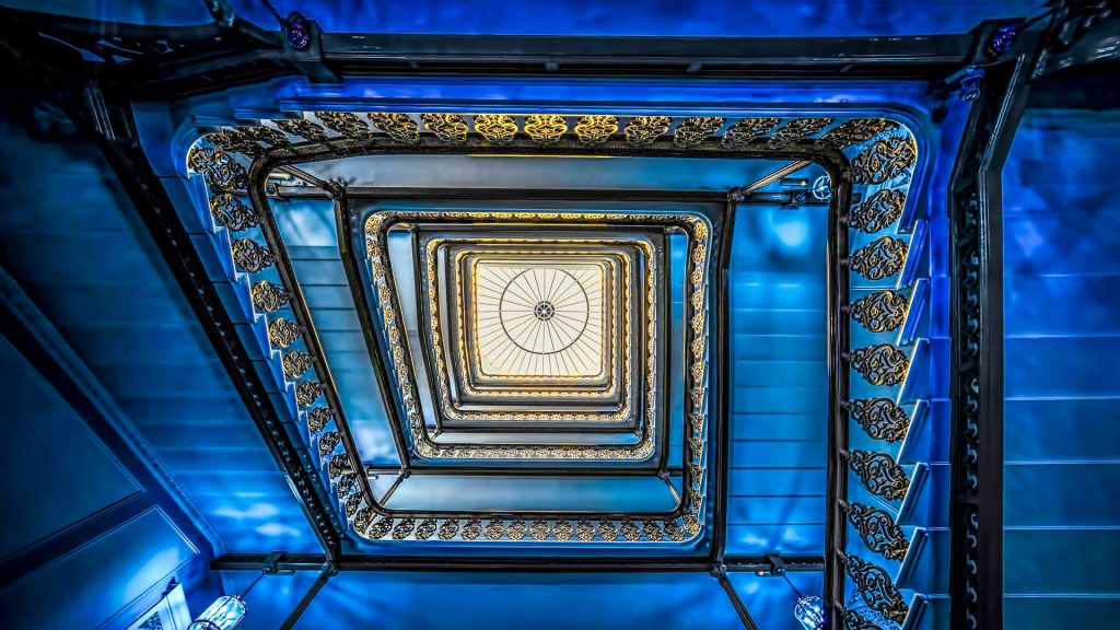 The funky blue staircase, Grand Brighton Hotel, England, UK