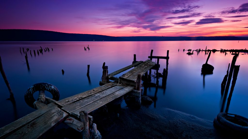 Long time exposure landscape with lake after sunset, Lake Varna, Bulgaria