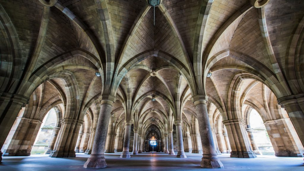Cloisters at the University of Glasgow, Scotland, UK