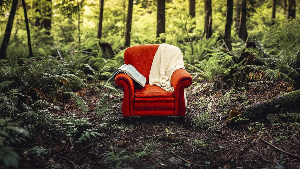 A red chair in the woods with a blanket and an atlas resting on it's arm