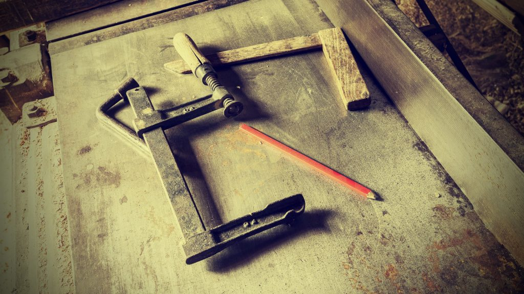 Old traditional carpenter's tools, retro vintage style