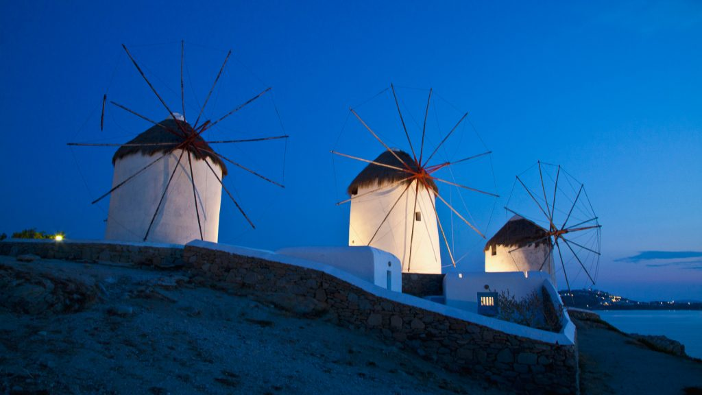 Windmill evening light, Hora, Island of Mykonos, Greece