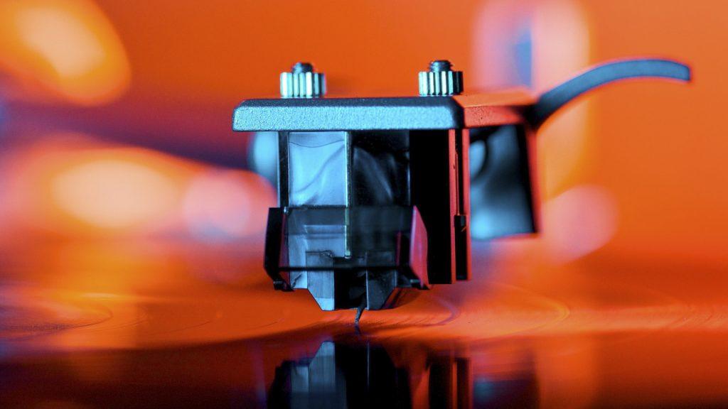Colors of music, vinyl cartridge closeup