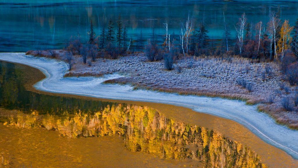 Autumn lake in Kanas National Nature Reserve, Xinjiang, China