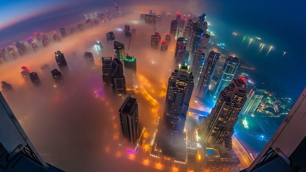 Fog season in Dubai, Dubai Marina view from Cayan Tower, UAE