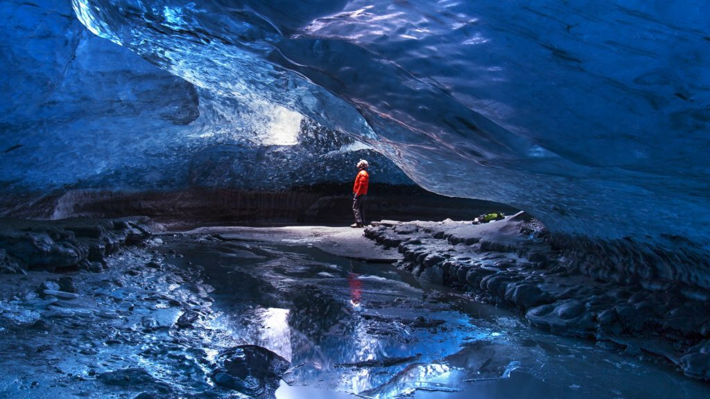 Ice-cave near the Glacier Lagoon on the south coast of Iceland