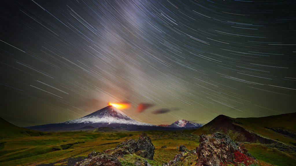 Klyuchevskaya Sopka volcano activity, Kamchatka Peninsula, Russia