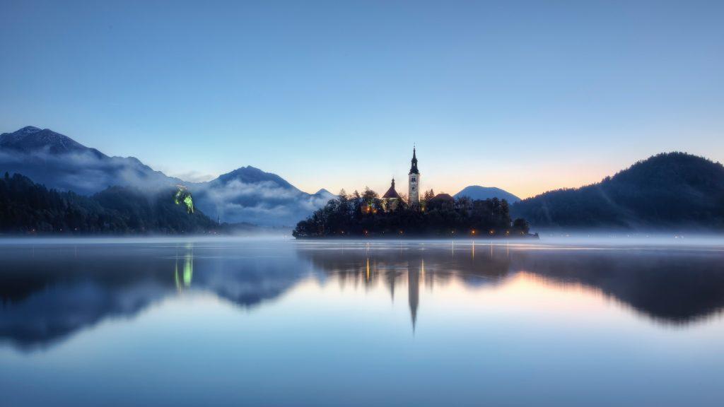 Sunrise blue hour at Lake Bled, Slovenia