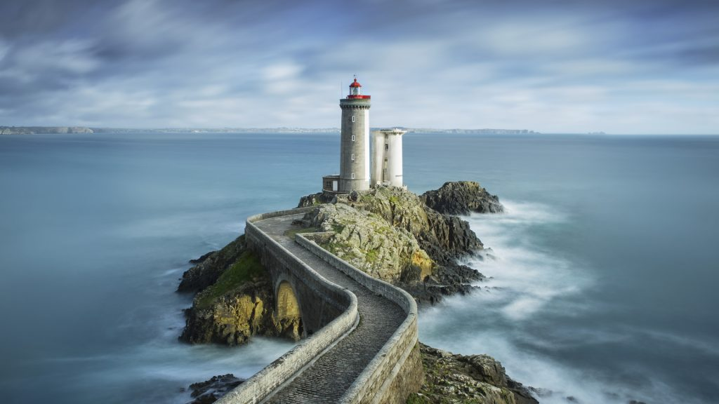 Lighthouse Phare du Petit Minou in the roadstead of Brest in the commune of Plouzané in Brittany (Bretagne), France