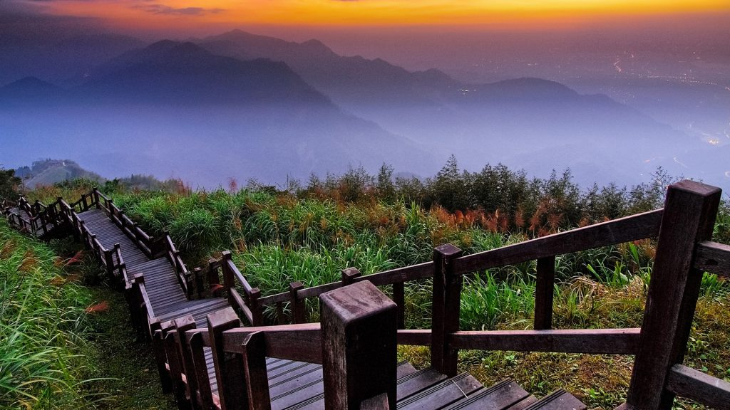 Sunset with view of mountain layers at Sidingshan, Chiayi, Taiwan