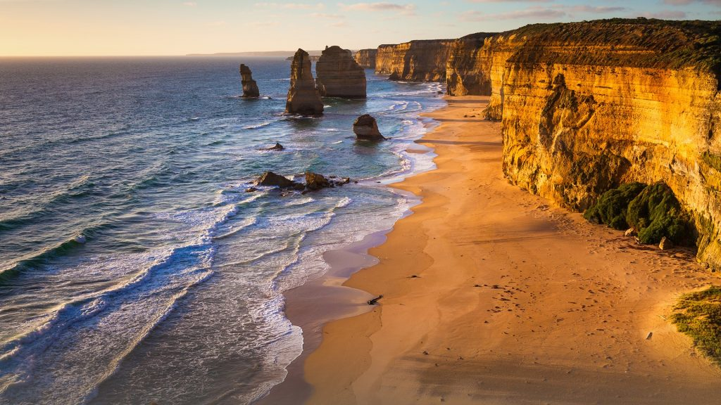 Sunset view at coast of Twelve Apostles by Great Ocean Road, Port Campbell National Park, Australia