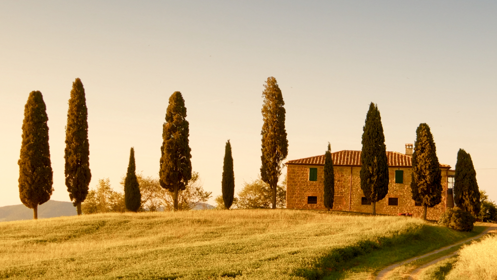 Farmhouse surrounded by cypress trees, classic Tuscany view close to Pienza, Italy