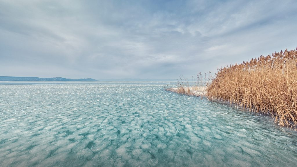 Frozen Balaton lake, Zamardi, Hungary