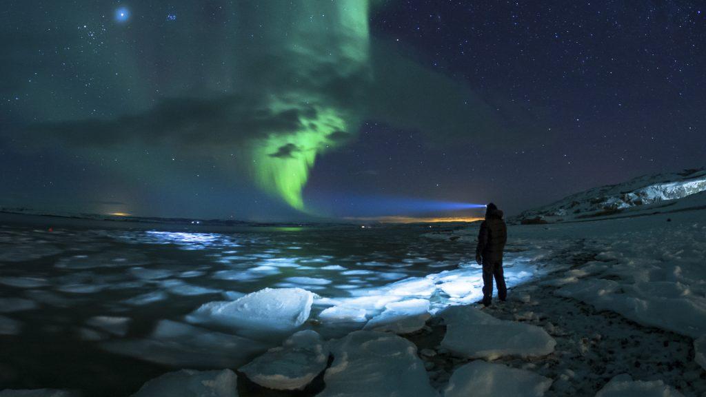 Myself and Aurora, aurora borealis view from Porsanger, Norway