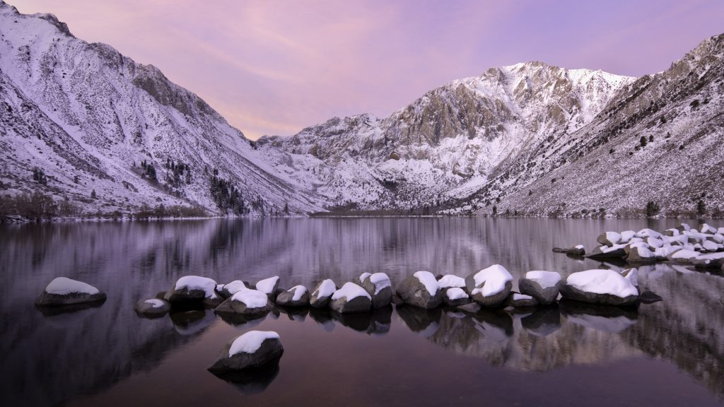 Convict Lake sunrise with fresh snow, Eastern Sierra, California, USA