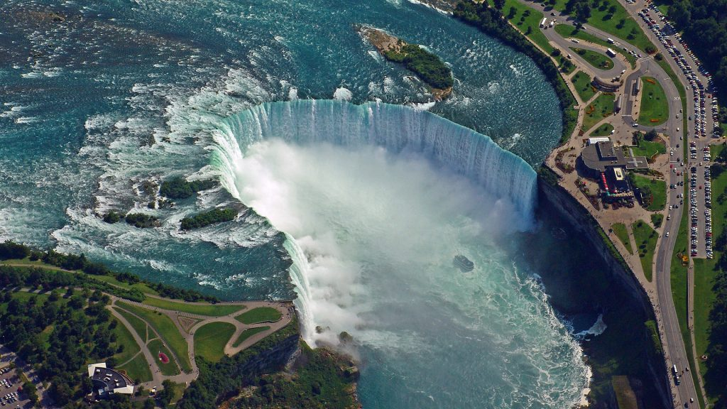 Aerial view of Niagara Falls, Ontario Canada and New York USA border