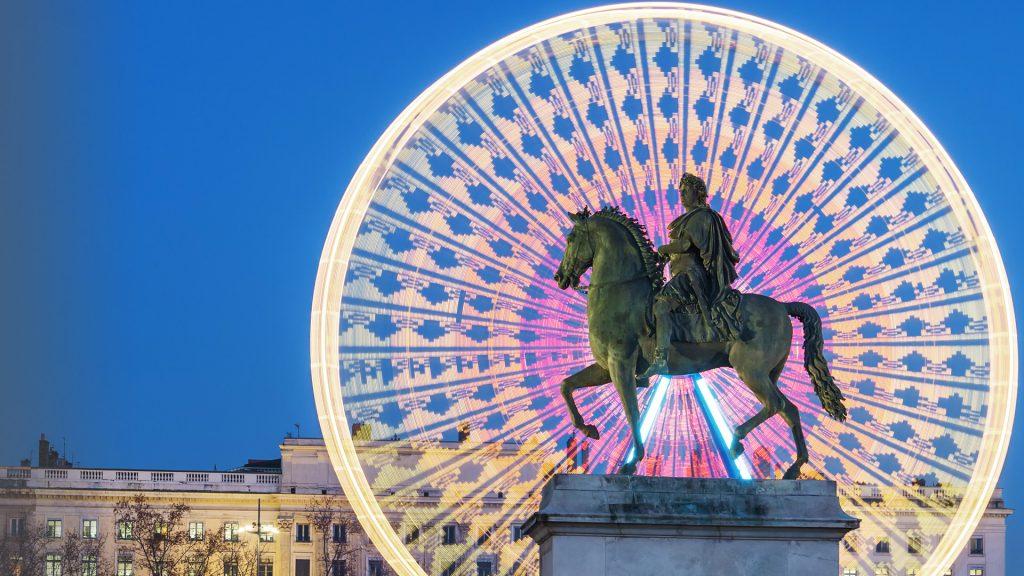 Place Bellecour, statue of King Louis XIV by night, Lyon, France