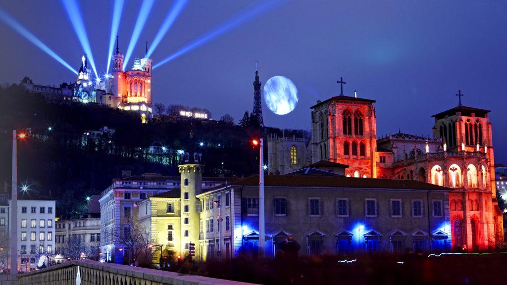 Skyline of Lyon during the Festival of Light, France
