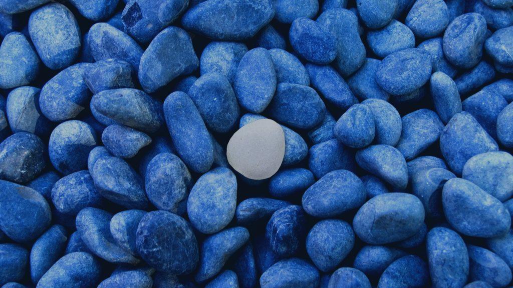 Blue gray stones of zen garden