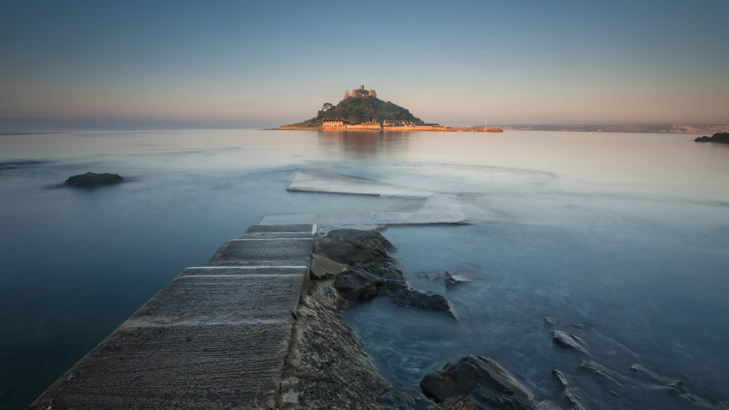 St Michael's Mount lighten up in sunrise, Cornwall, England, UK