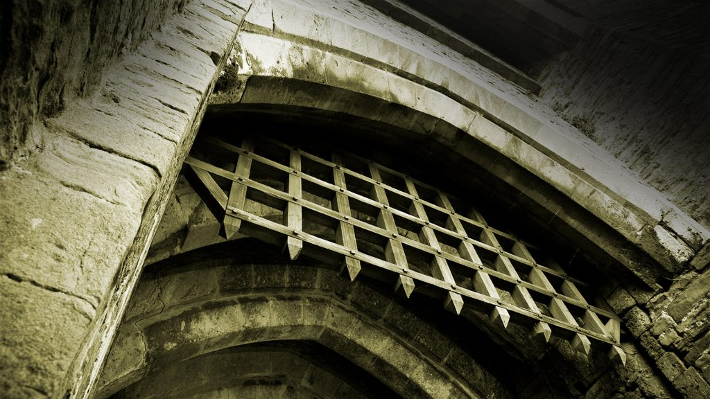 Portcullis, Caerphilly Castle, South Wales, UK