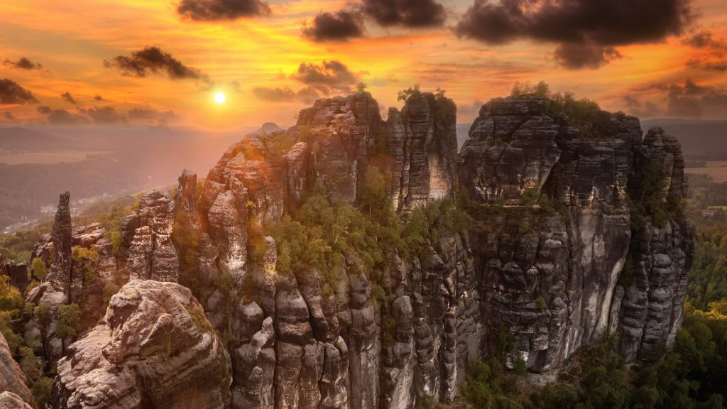 Burning skies sunset at Schrammsteine, Saxon Switzerland, Germany
