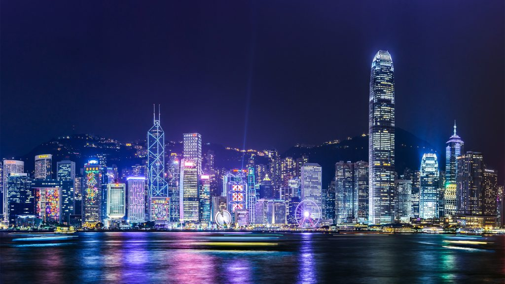 View of Victoria Harbour in Hong Kong at night, China
