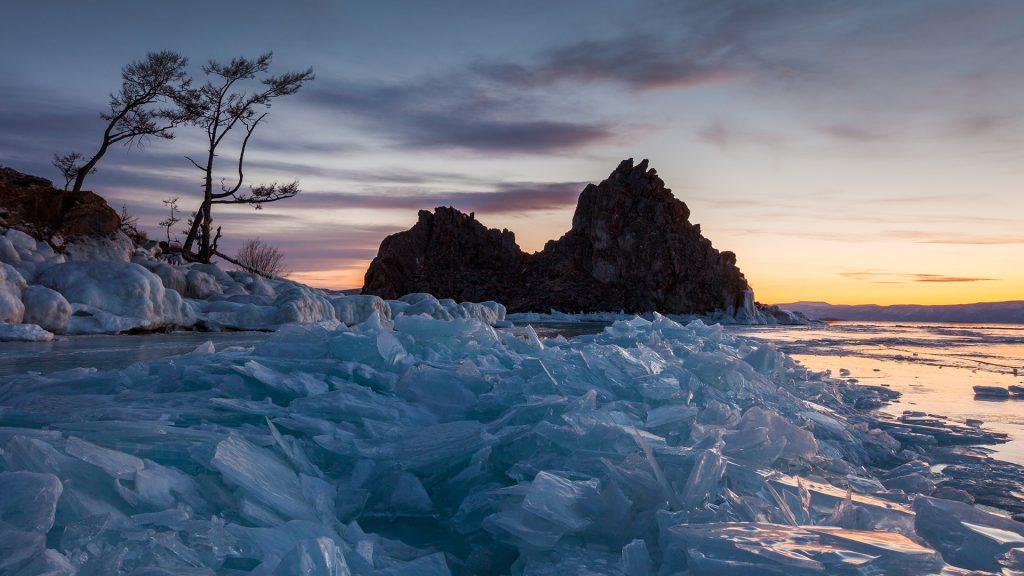 Rock Shamanka on lake Baikal in winter, Russia