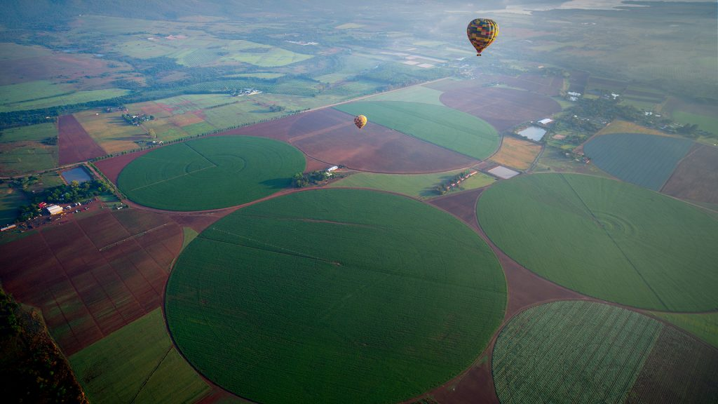 A hot air balloon ride over fields in Magalies River Valley, South Africa
