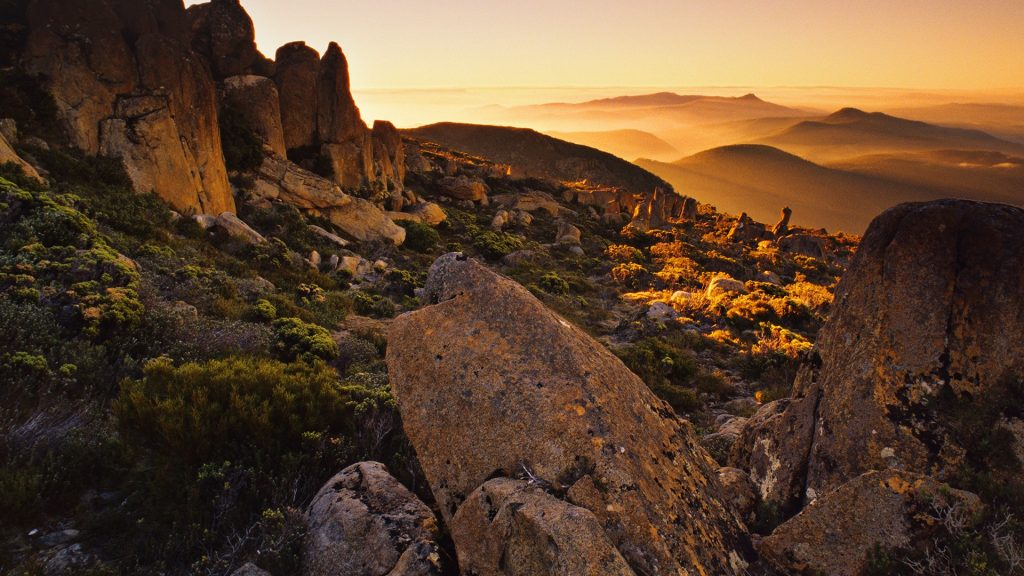 Sunset on the summit of Mount Wellington, Hobart, Tasmania, Australia