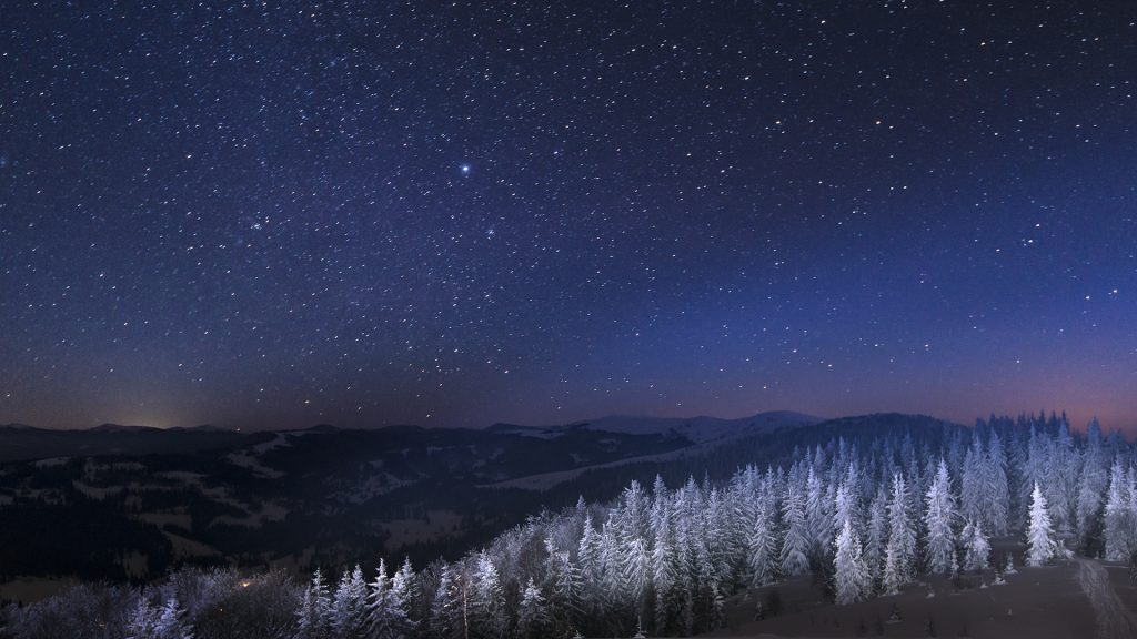 Snowy view in Carpathian Mountains, Ukraine