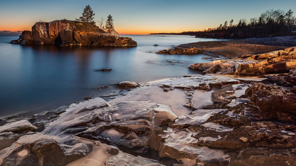 Lake Superior at winter dusk, Thunder Bay, Ontario, Canada