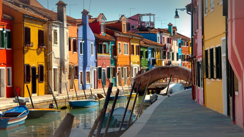 Colourful houses in the village of Burano, Venice, Italy
