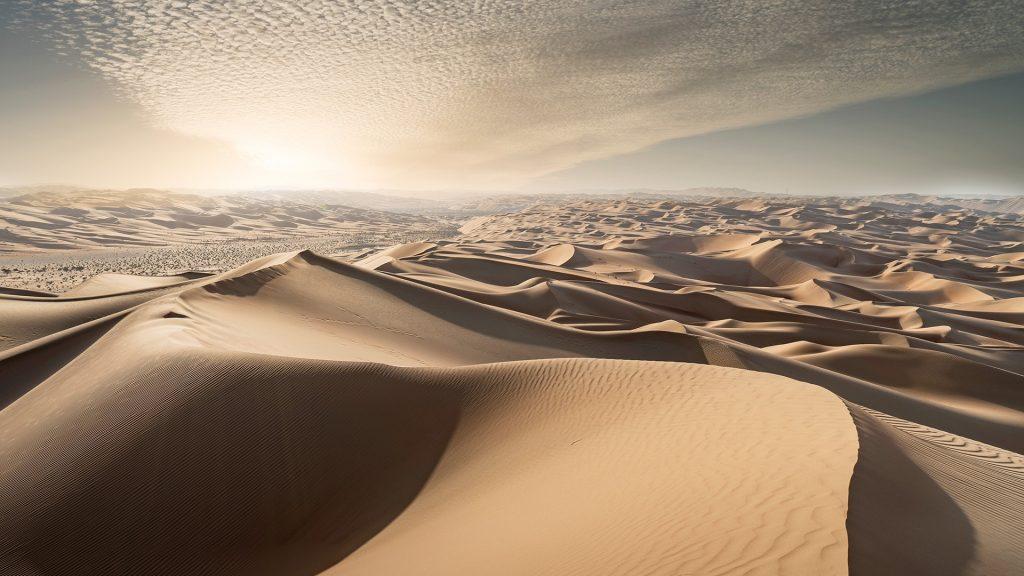 Sand dunes in a desert at sunset, Arabian Peninsula, UAE