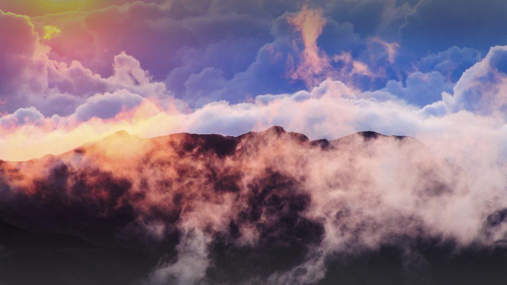 Clouds at sunrise over Haleakala Crater on Maui, Hawaii, USA