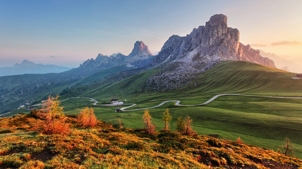 Nature and mountains landscape in Alps, Passo Giau, Dolomites, Italy