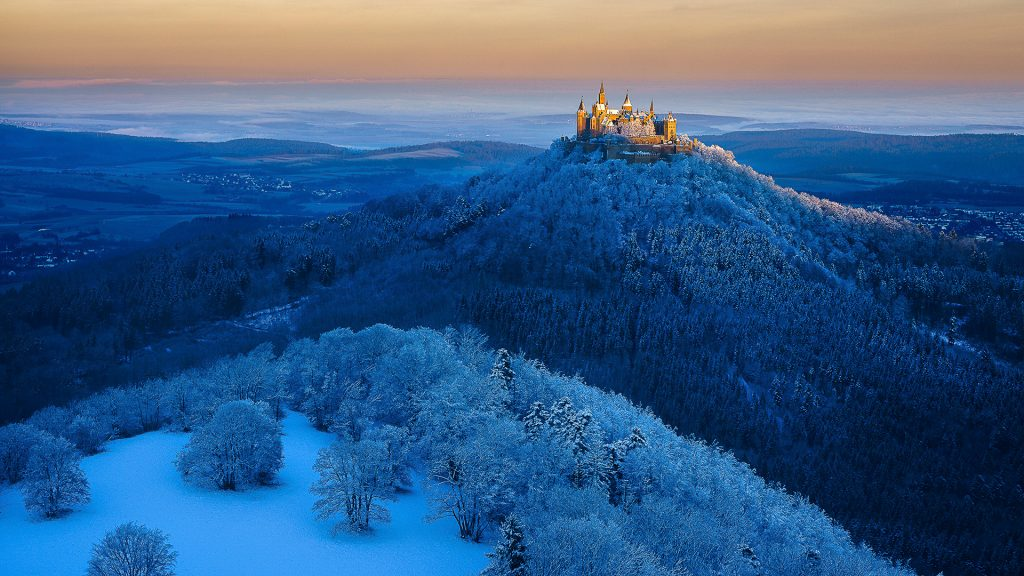 Hohenzollern Castle near Stuttgart, view from Zeller Horn, Germany