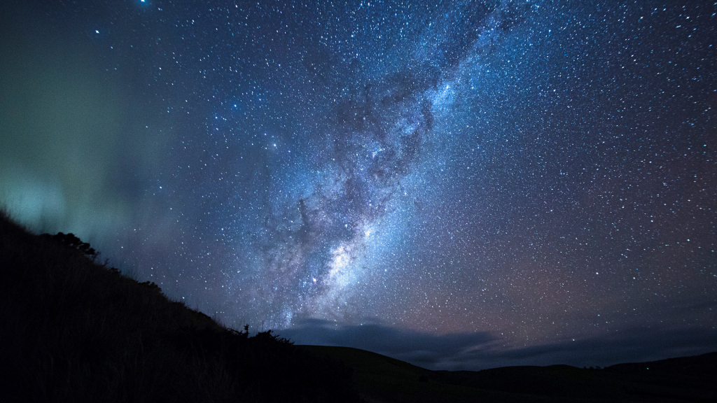 Milky Way seen from hilly landscape