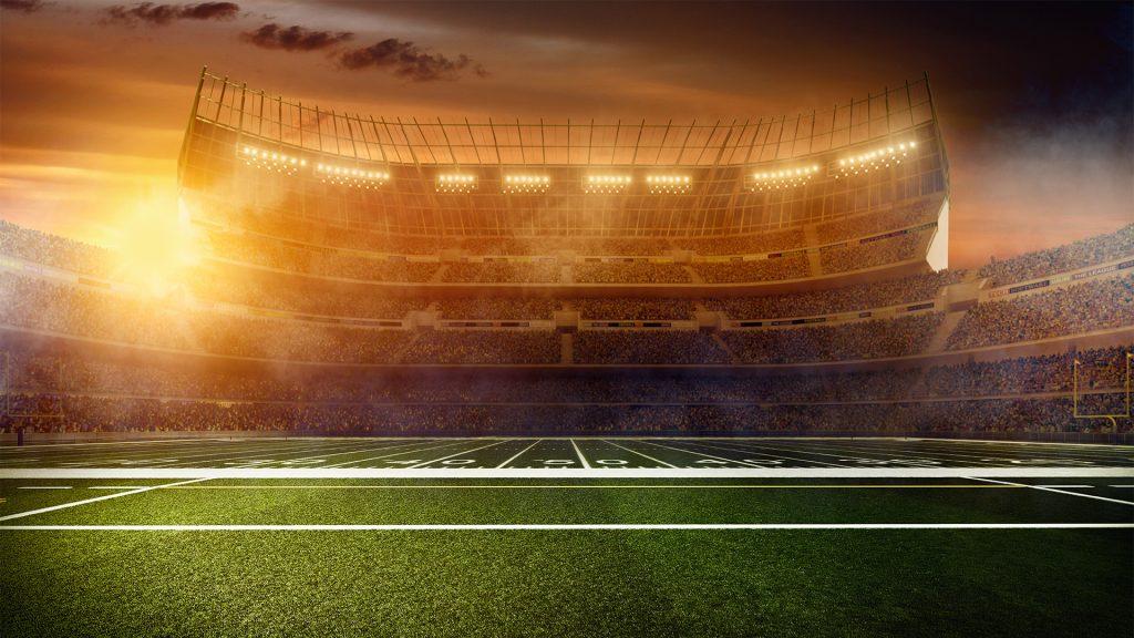 Dramatic american football stadium wide angle panoramic view