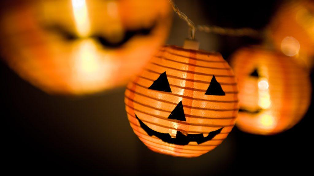 Orange Halloween paper pumpkin decorative lights