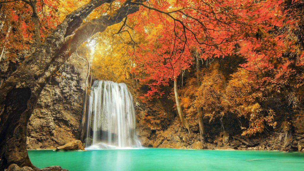Erawan Waterfall in Kanchanaburi at autumn, Thailand