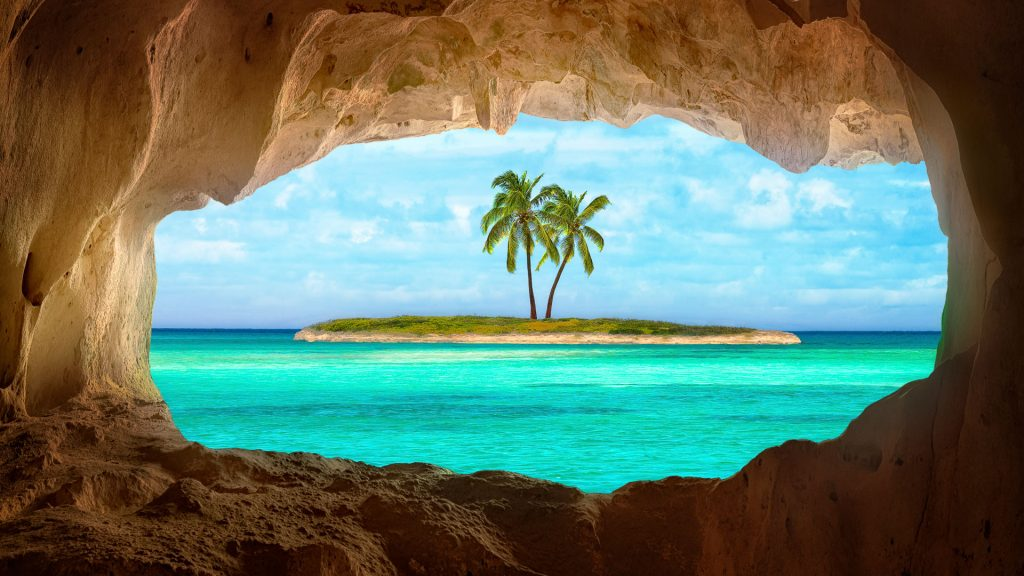An old Indian cave located on a remote Caribbean Island, Turks and Caicos Islands