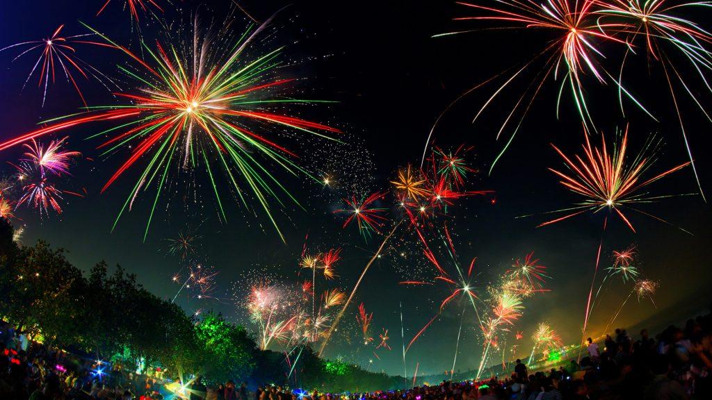 Kuta New Year Fireworks, Badung, Bali, Indonesia