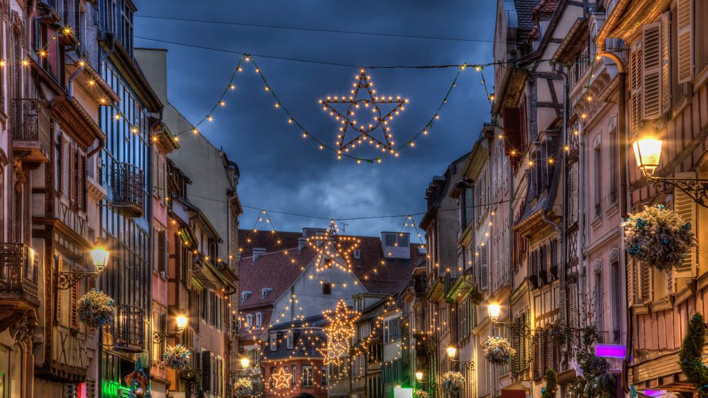 Beautiful decorated street during the winter holiday, Colmar, Alsace, France