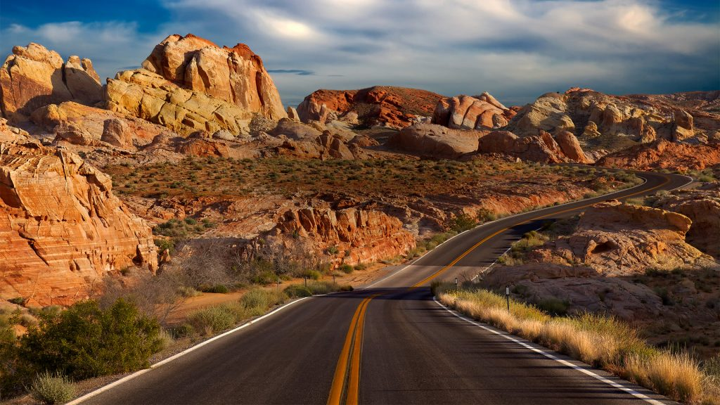 Deserted road through Rainbow Vista in Valley of Fire State Park, Overton, Nevada, USA