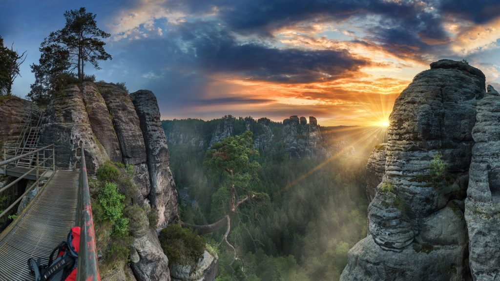 Morning hiking in Elbe Sandstone Mountains near the Bastei, Germany